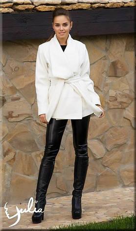 Женское белое пальто с воротником, фото 2