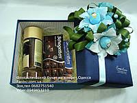 """Синяя подарочная коробочка со сладостями и кофем""""Давидофф"""""""", фото 1"""