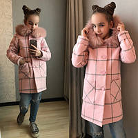 Демисезонное пальто для девочки в клетку с мехом на воротнике  (разные цвета)