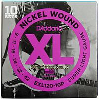 Струны D'Addario EXL120-10P Nickel Wound 9-42 10 set, фото 1