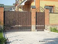 """Ворота кованые дворовые, с калиткой. Покраска супер качественной эмалью """"Снежка"""""""