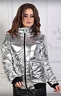 Женская куртка с карманами,эко-кожа (42-50 р) 77П439