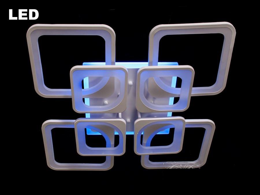 Люстра светодиодная 8060/4+4 white/black 190w диммируемая с led подсветкой