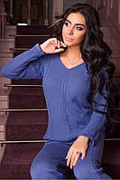 Костюм женский вязанный Регина (светлый джинс), фото 1