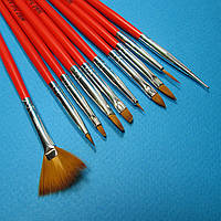 YRE Набор кистей NK-16 для рисования и дизайна ногтей с красной ручкой, 10 кистей