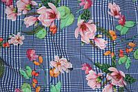 Ткань супер софт клетка №7 цветы розовые, фото 1