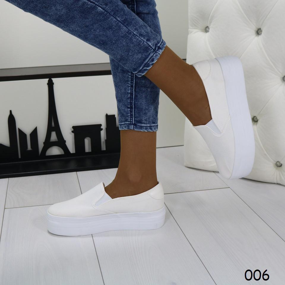 09155d4079a62b Купить сейчас - Слипоны текстиль белые на высокой платформе: 549 грн ...