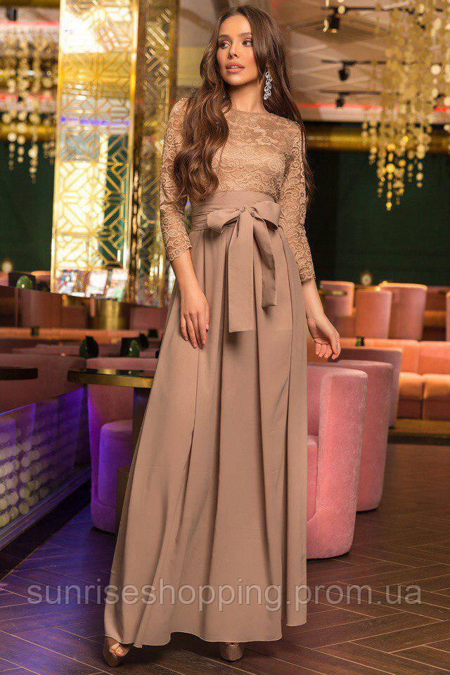 f5045c5718f Стильное шифоновое платье в пол бежевого цвета с кружевным верхом - Sunrise  в Одессе