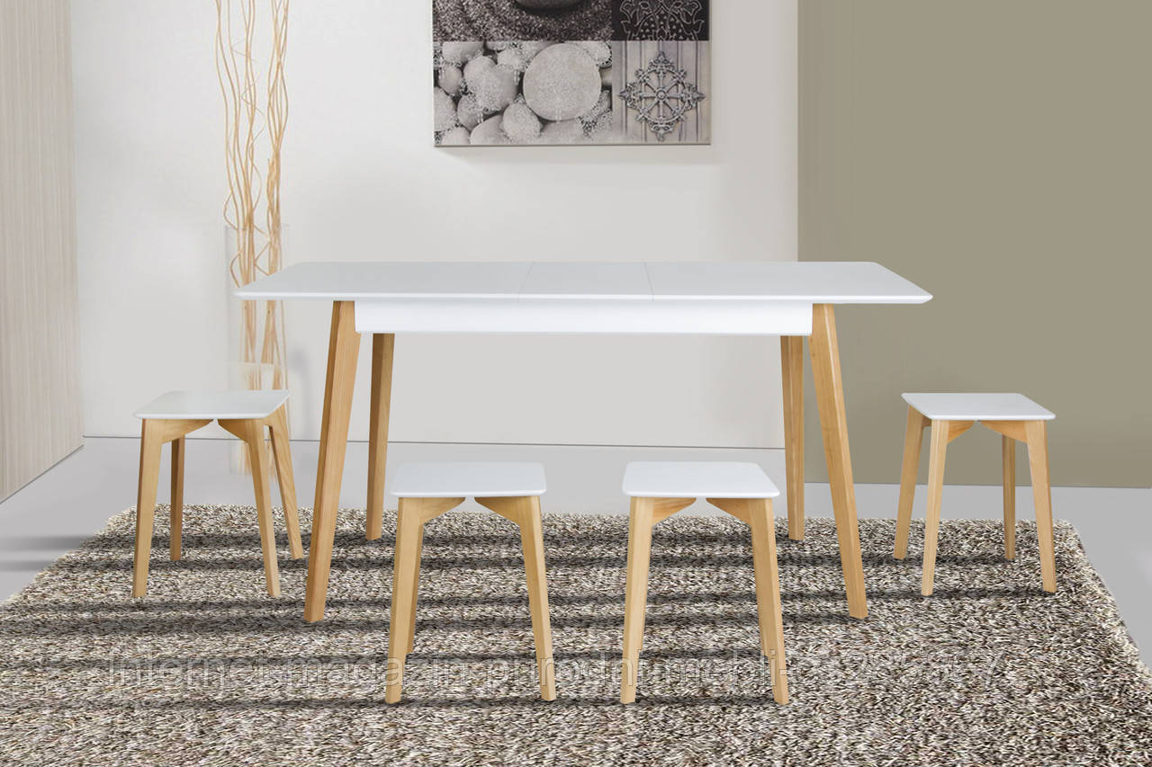 Стол обеденный деревянный Сингл белый\дуб