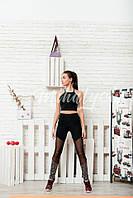 Женский костюм для спорта черный с топиком, фото 1