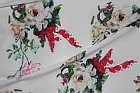 Ткань супер софт, цветочный букет , белый фон №8, фото 1