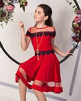 Нарядное платье с кружевом на девочку подростка Мила Размеры 134- 152
