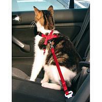 Trixie TX-1294 автошлея для кота с поводком (нейлон) 20-50см/15мм,красный, фото 2