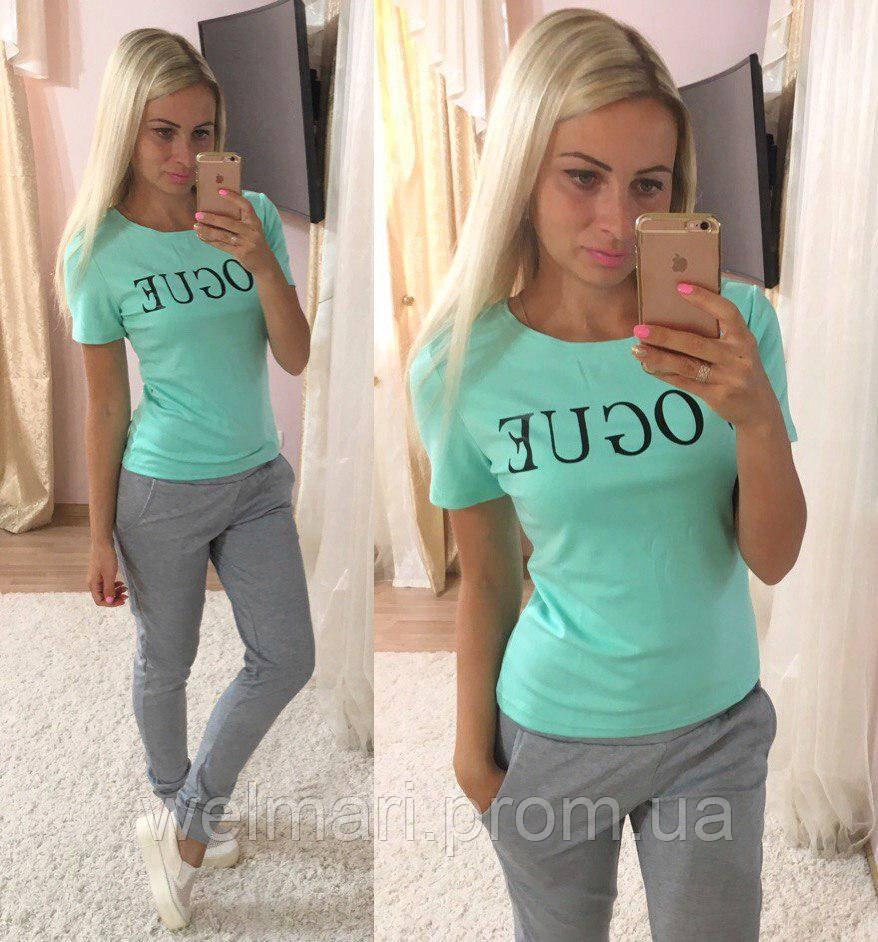 Женский красивый спортивный костюм: футболка и брюки (3 цвета) , фото 1