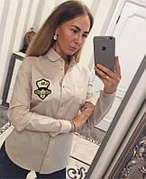 Женская классическая рубашка с нашивкой