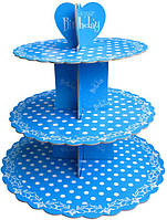 Стенд трёхъярусный картонный круглый для капкейков синего цвета с горошком (шт)