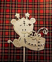 Топпер праздничный мишка с подарком , 3D эффект, фото 1
