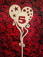Топпер на торт воздушные шарики с цифрой, 3D эффект, фото 1