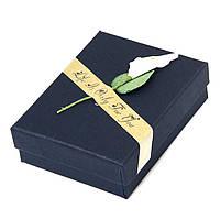 Подарочная Упаковка для Украшений, с Цветком, Цвет: Темно-синий, Размеры: 9х7х3см, (УТ100011802)