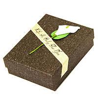 Подарочная Упаковка для Украшений, с Цветком, Цвет: Темно-коричневый, Размеры: 9х7х3см, (УТ100012034)