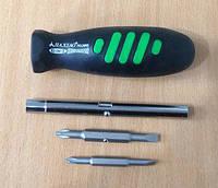 Отвертка четырехсторонняя с резиновой ручкой ОТ66