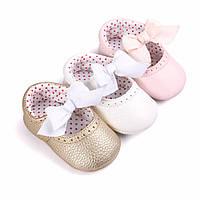 Детские нарядные кожаные пинетки туфельки для крестин девочки, на годик