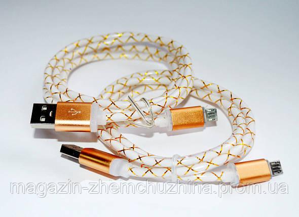 Кабель переходник с USB на микро USB толстый шнур силикон. рисунком ленты светящийся Elite s-706!Акция, фото 2