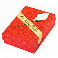 Подарочная Упаковка для Украшений, с Цветком, Цвет: Красный, Размеры: 9х7х3см, (УТ100012030)