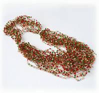 Колье  в подарок -украшение на шею из бисера -  воздушное  красное с зеленым и золотом