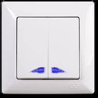 Вимикач 2-клав.з підсвіткою білий Visage