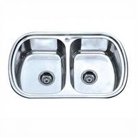 Врезная кухонная мойка Platinum 77*49*18 Satin 0.8 Двойная , фото 1