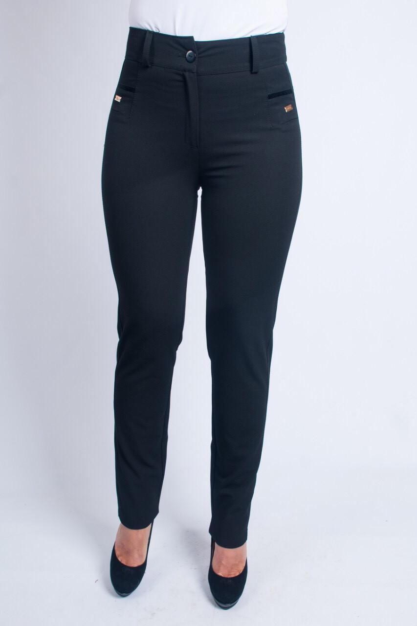 Женские брюки с вставками по бокам чёрного цвета