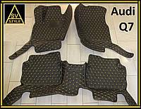 Коврики Audi Q7 Кожаные 3D (кузов №1 / 2005-2015) Чёрные, фото 1