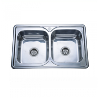 Врезная кухонная мойка Platinum 78*48*18 Satin 0.8 Двойная , фото 1