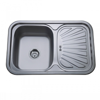 Врезная кухонная мойка Platinum 75*49*18 Satin 0.8 , фото 1