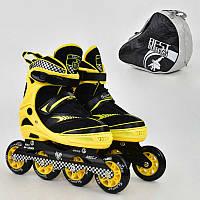 "Ролики 6014 ""M"" Yellow - Best Rollers /размер 35-38/ (6) колёса PU, без света, d=8.4см"