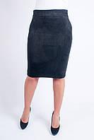 Замшевая женская юбка-карандаш чёрного цвета, фото 1