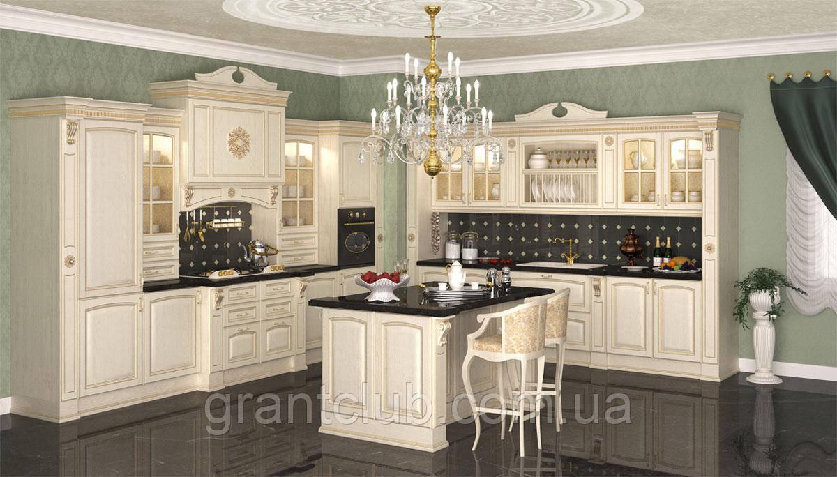 Классическая бежевая кухня с золотой патиной PREZIOSA фабрика DIEMME (Италия)