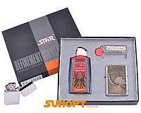 Зажигалка бензиновая в подарочной коробке (Баллончик бензина/Кремень/Фитиль) American Trucker №XT-4934-2