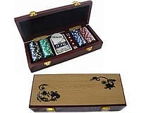 Покерный набор на 100 фишек в деревянном сундучке №100м