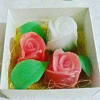 Набор сувенирного мыла ручной работы «бутоны роз» в коробочке