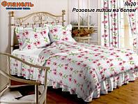 Ткань постельная Фланель - Розовые лилии на белом (M)