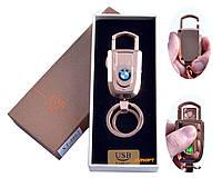 USB зажигалка-брелок в подарочной упаковке с подсветкой (спираль накаливания) №4862-4