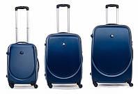 Комплект чемоданов Bagia 606 Темно-синий, набор дорожных чемоданов на колесиках