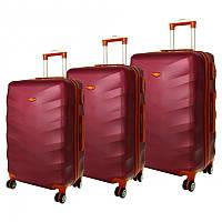 Комплект чемоданов RGL 6881 Бордовый, набор дорожных чемоданов на колесиках