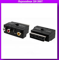 Переходник SH-3007 Scart-3RCA/S-Video с переключателем in/out