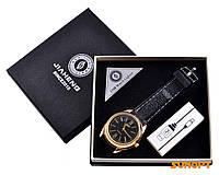USB зажигалка + часы в подарочной упаковке (Спираль накаливания; кварц) №4829-4