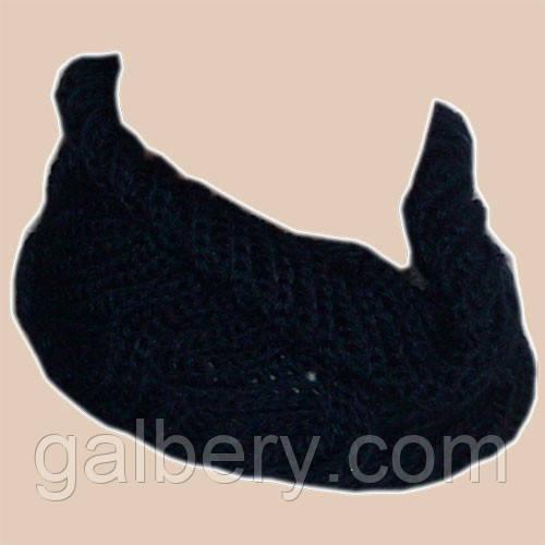 Вязаный шарф-снуд темно-синего цвета