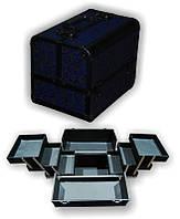 Чемодан металлический раздвижной синие розы 3523