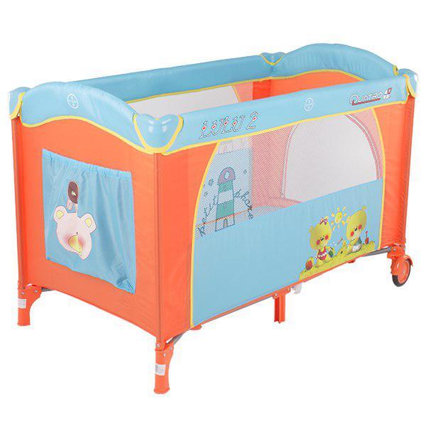 Манеж-кровать Quatro Lulu 2 с пеленатором и дугой p610bh №4 оранж-голубой